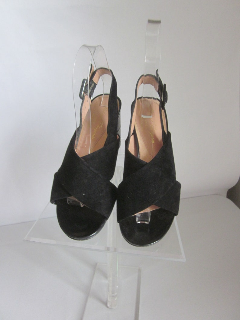 1990s Black Suede Sandals by