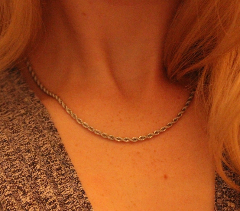 Stainless Steel Rose Chain Basic Silver Chain Silver Rope Chain Gift for Her Layering Necklaces Non Tarnish Chain