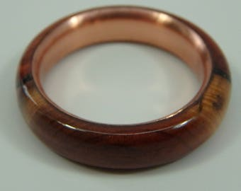 """Size 6 """"Burled"""" Wood Ring with Copper Insert, Handmade, Turned Eastern Red Cedar, 5th Anniversary Gift"""