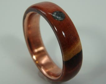 """Size 7.25 """"Burled"""" Wood Ring with Copper Insert and Soapstone Accent, Handmade, Turned Eastern Red Cedar, 5th Anniversary Gift"""