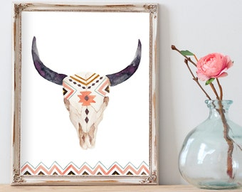 Downloadable Prints, Boho Decor, Boho Wall Decor, Printable Art Prints, Bull Skull Wall Decor, Digital Wall Art, Boho Digital Download Art