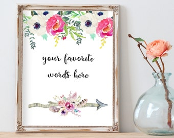 Your Personalized Custom Quote, Floral Arrows Print, Nursery Printable Custom Quote, Custom Printable, Quote Print, Calligraphy Print