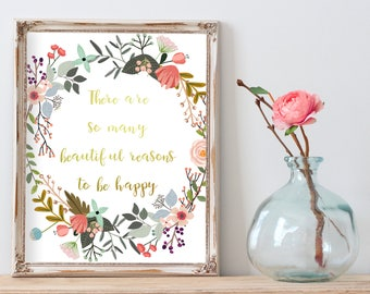 Best Selling Items, Printable Gold Quote, So many reasons to be happy, Gold Motivational Wall Decor, Top Selling Shops, Digital Download Art