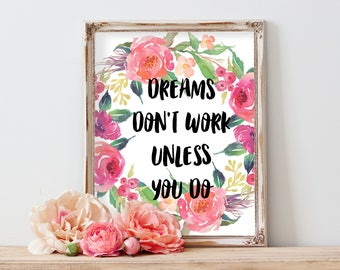 Dreams Don't Work Unless You Do, motivational printable, Cubicle Printable, Dorm Decor, Top Selling Items, Girl Room Decor, cubicle decor