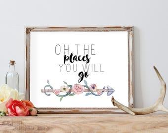 Oh The Places You'll Go, Nursery Decor, Home Decor, Motivational Quote, Nursery Wall Art Print, Inspirational Print, Arrow Boho Print