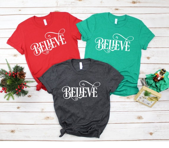 f435f6682 BELIEVE Christmas Women's Shirt Holiday Shirt for Women | Etsy