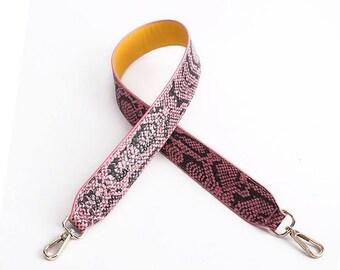 0cd02047cb792 gefälschte rosa Schlange Leder und Baumwolle Gurtband Geldbörse Riemen  Griffe