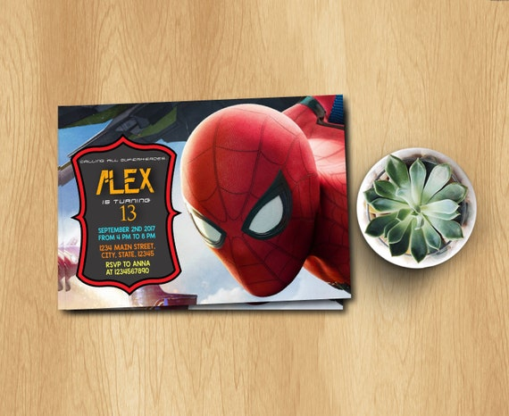 Spiderman Printed Invitation Party