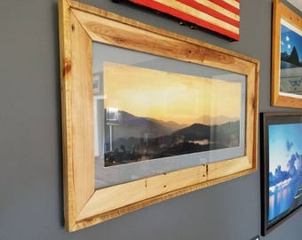 Handmade Reclaim wood frame photo of Smokey Mounties sunset
