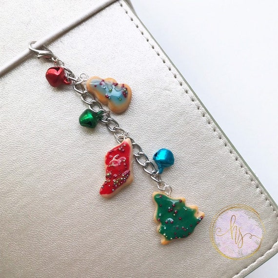 Polymer Clay Christmas Charms.Polymer Clay Christmas Cookie Charm Planner Charm Keychain