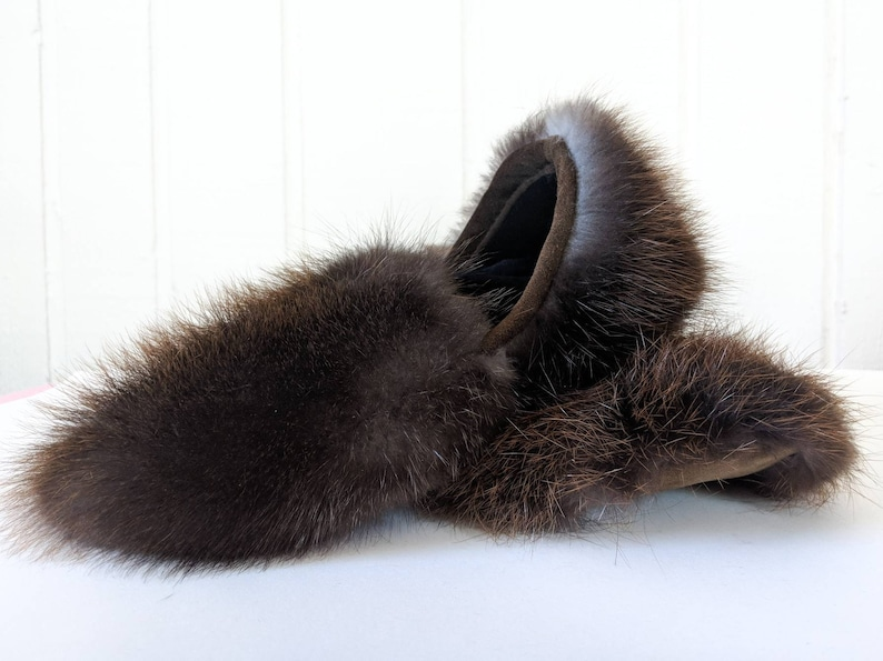 11cc82a0ad32 Real fur slippers Canadian beaver fur slides suede sole