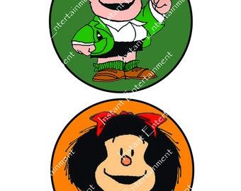 CENTERPIECES, 24 different Mafalda Centerpieces, Centros de Mesa, Circulos, Quino, Girl, Birthday, Felipe, Manolito, Susanita, Miguelito