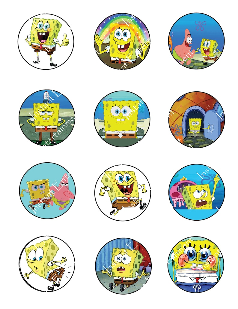 4cc29f6d3563 Toppers different spongebob square pants toppers cupcake etsy jpg 794x1028  Spongebob karen anime