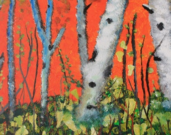 Birch Trees, Hand Painted Acrylic Painting on Canvas