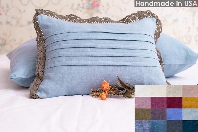 Linen Pillow Cover with Cotton Lace - Linen Pillowcase - Linen Pillow Sham  - Decorative Pillow - Throw Pillow - Farmhouse Decor