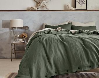 Green Duvet Cover, Linen Duvet Cover Queen, Duvet Cover Full, Birthday Gift Toddler Bedding, Washed Linen Bedding Boho Decor, Bedroom Decor