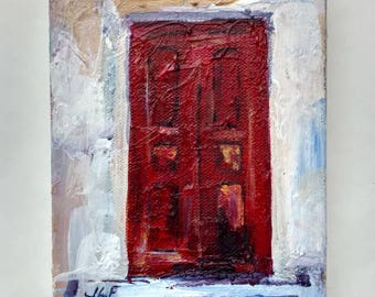 """This is """"Red Greek Door"""" an original acrylic painting on canvas by JLF."""
