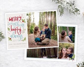 Christmas Card Template - Christmas Card - Christmas Template for Photoshop - Photographer Template - Digital Design