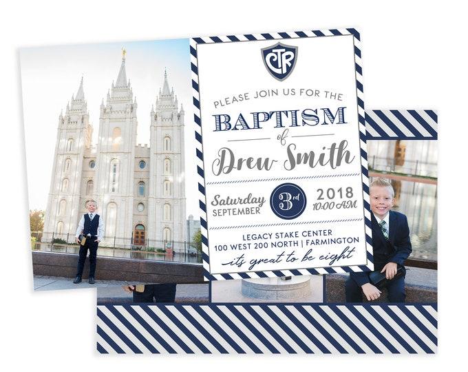 LDS Baptism Invitation - Baptism Invitation - Boy Baptism Invitation - Photographer Template