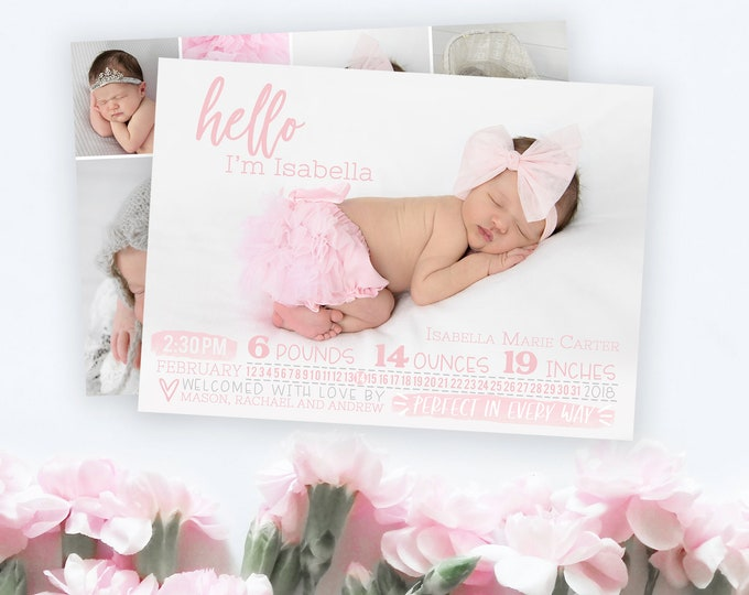 Birth Announcement Template - Newborn Announcement - Girl Birth Announcement - Newborn Template for Photoshop - Photoshop Template
