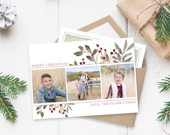 Christmas Card Template - Floral Watercolor Christmas - Christmas Template for Photoshop - Photographer Template - Digital Design