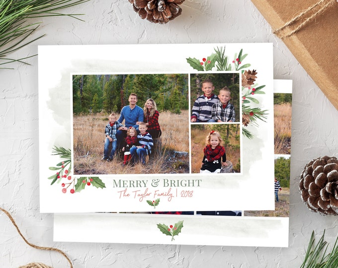 Christmas Card Template - Floral Be Merry Watercolor Christmas - Christmas Template for Photoshop - Photographer Template - Digital Design