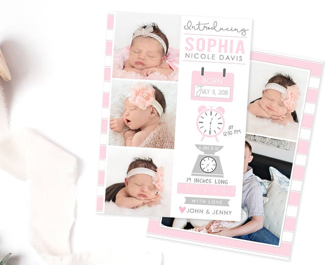 Birth Announcement Template | Birth Announcement Girl | Birth Card Template | Birth Announcement Card | Newborn Announcement Card