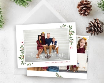 Happy Holidays Card Template - Christmas Card Template - Floral Christmas Card Template - Photo Card Template - Editable Christmas Card