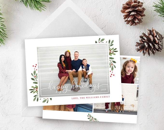 Happy Holidays Card Template - Christmas Card Template - Floral Christmas Card Template - Photo Card Template - Editable Christmas Card