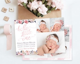 floral birth announcement template newborn announcement girl baby announcement newborn template for photoshop photographer template