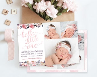 Floral Birth Announcement Template - Newborn Announcement - Girl Baby Announcement - Newborn Template for Photoshop - Photographer Template