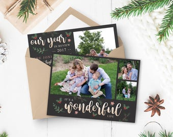 Christmas Card Template - It's a Wonderful Life Card Template - Christmas Template for Photoshop - Photographer Template - Digital Design