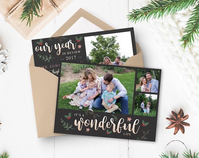 Christmas Card Template - It's a Wonderful Life Card Template - Christmas Template for Photoshop - Photographer Template - Digital Design
