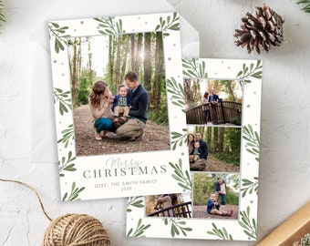 Christmas Card Template - Holiday Card Template - Merry Christmas - Floral Christmas Card - Photo Card Template - Editable Christmas Card