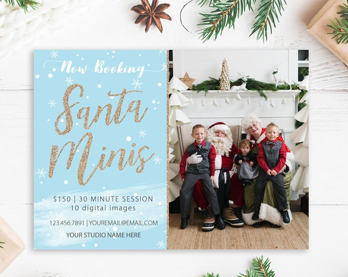 Santa Minis Marketing Template - Digital Design - Photography Marketing Ad - Advertisement Template - Christmas Template
