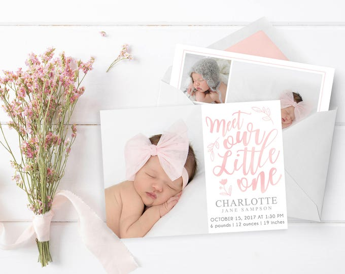 Girl Birth Announcement Template - Newborn Announcement - Girl Birth Announcement - Newborn Template for Photoshop - Photographer Template