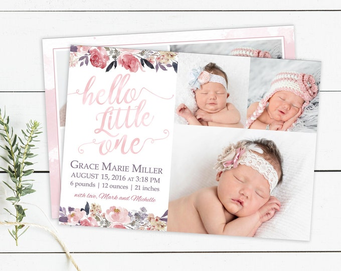 Floral Birth Announcement | Birth Announcement Card | Digital Birth Announcement | Birth Announcement Template | Girl Birth Announcement