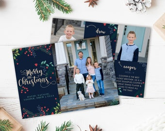 Christmas Card Template - Have Yourself a Merry Little Christmas - Digital Download - Christmas Template for Photoshop-Photographer Template