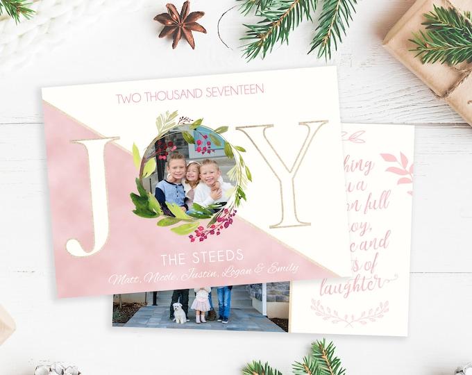Christmas Card Template - Joy - Christmas Template for Photoshop - Photographer Template - Digital Design