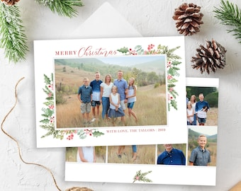 Christmas Card Template - Holiday Card - Floral Watercolor Christmas Card - Merry Christmas - Photo Card Template - Editable Christmas Card