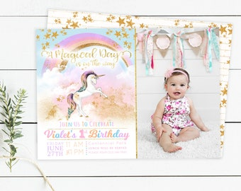 Unicorn Birthday Invitation - Birthday Invitation Template - Girl Birthday - Birthday Template for Photoshop - Photographer Template