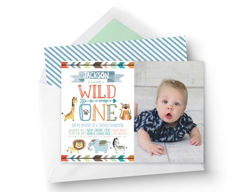 Boy Printable Wild One Birthday Invitation with PHOTO - Safari Birthday Invitation - Zoo Animals Birthday Invitation - Printable Invitation