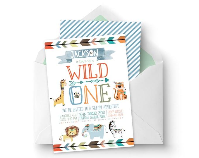 Boy Printable Wild One Birthday Invitation - Safari 1st Birthday Invitation - Zoo Animals Birthday Invitation - Printable Invitation