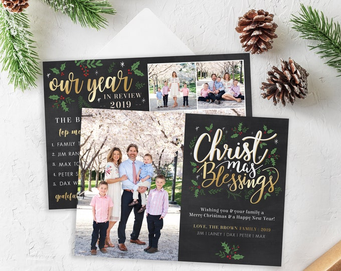 Christmas Card Template - Religious Holiday Card - Christmas Blessings - Merry Christmas - Photo Card Template - Editable Christmas Card