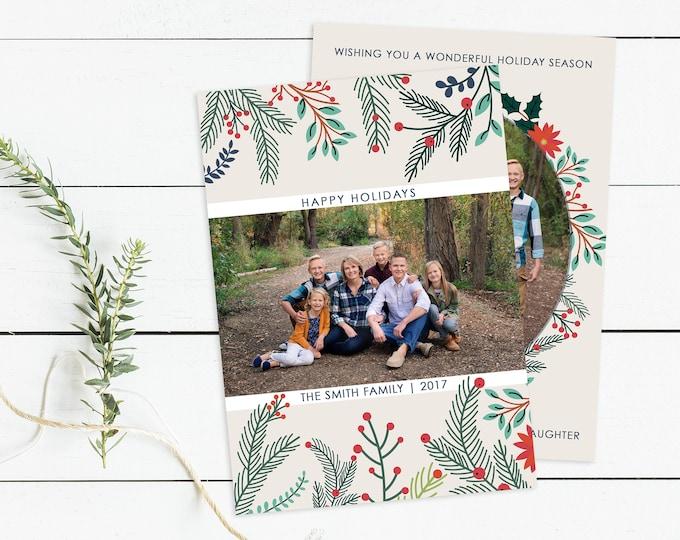 Christmas Card Template - Happy Holidays Template - Christmas Template for Photoshop - Photographer Template - Digital Design