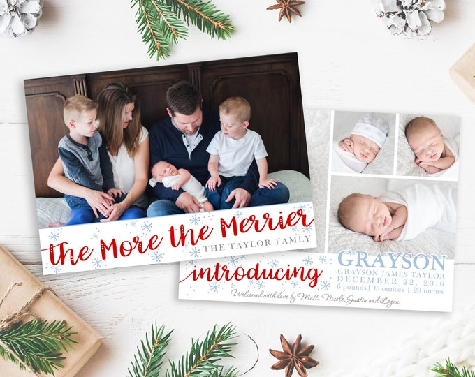 Christmas Card Template - The More the Merrier - Christmas Template for Photoshop - Photographer Template - Digital Design