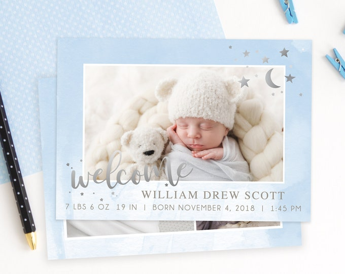 Birth Announcement Template - Newborn Announcement - Boy Birth Announcement - Newborn Template for Photoshop - Photographer Template