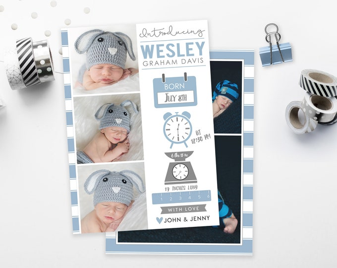 Boy Birth Announcement | Birth Announcement Card | Digital Birth Announcement | Birth Announcement Template | Birth Announcement Card Boy