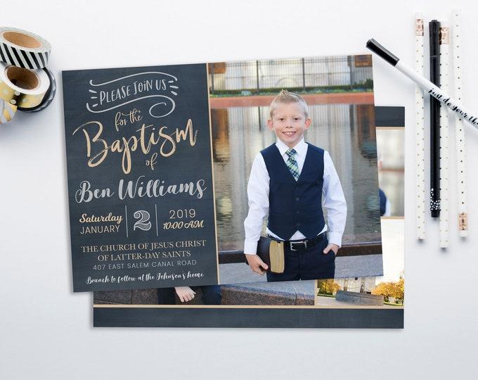 LDS Baptism Invitation - Boy Baptism - Baptism Invitation - Photographer Template - The Church of Jesus Christ of Latter-Day Saints
