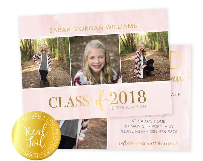 Foil Pressed Graduation Announcement - Graduation Announcement Press Printed  Cards  - Graduate Senior Grad Card - 5x7 Grad Card